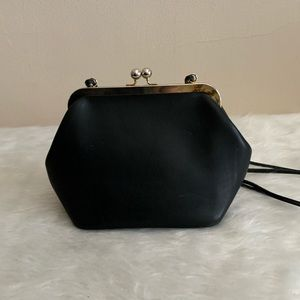 Coach Black Vintage Top Clasp Leather Bag